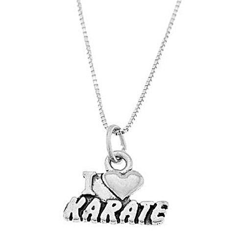 Sterling Silver One Sided I Love Karate Necklace