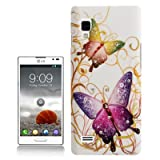 Rocina Strass Hardcase for LG P760 Optimus L9 butterflies in colorful white