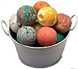 """SPLENDEUR SPRING Bucket O'LUSCIOUS Bath Bomb Fizzes(12)-NEW Singly Wrapped-2""""Diam-Pamper You-Gift-USA Handmade-QUALITY-Skin Moisturizer-ORGANIC-NATURAL-SHEA Butter-Coconut Oil+FREE Essential Oil Book!"""