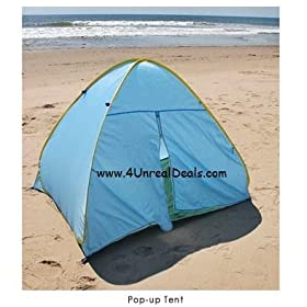Deluxe Pop Up Beach Tent Sun Shelter with Zipper Privacy Door Family Cabana Sun Wind Tent Blue with Folding Instruction Video on CD