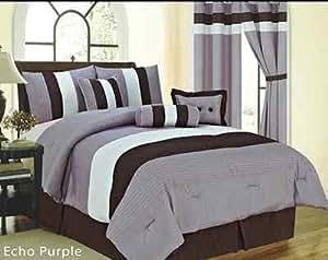 Echo 7 piece light purple brown beige comforter set king - Light purple comforter set ...