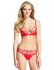 Limited Collection Floral Lace & Ribbon Underwired Plunge Push-Up A-DD Bra