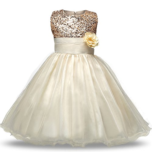 NNJXD Girl Flower Sequin Princess Tutu Tulle Baby Party Dress Size 4-5 Years Yellow