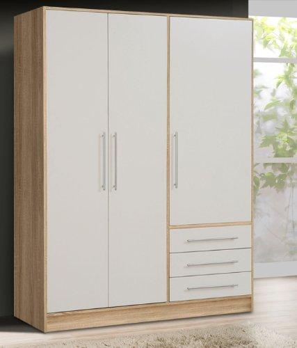 Kleiderschrank-62010-Schrank-sonoma-eiche-wei-3-trig-145cm