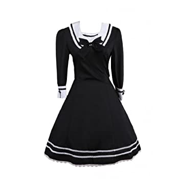 8a967248c3c267 Review M4U Womens Classic Black Cotton Half Sleeves Crewneck Lolita ...