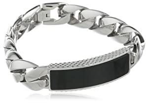 Men's Stainless Steel Bracelet with Black Onyx, 8
