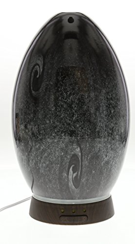 GreenAir Serene Living Obsidian Glass Ultrasonic Essential Oil Diffuser for Aromatherapy - Includes Nightlight 3-Stage Dimmer - 4 Hour Run Time - Hand-Blown Glass - Black (Ultrasonic Egg Humidifier compare prices)