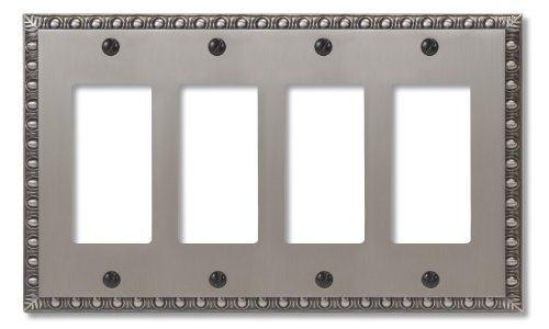 Amertac 90R4AN Egg & Dart Antique Nickel Cast Wall Plate, 4 Rocker