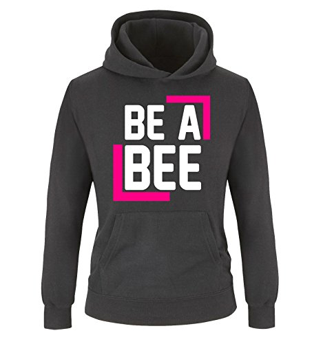 comedy-shirts-be-a-bee-kinder-hoodie-schwarz-weiss-pink-gr-152