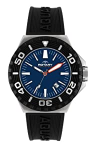Rotary Men's Analogue Watch AGS00056/W/05 with Blue Dial and Black Rubber Strap