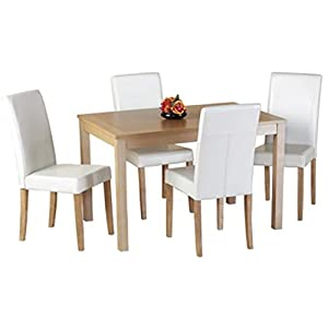 WorldStores Dining Table and Chairs Set   Oakmere Dining Table & 4 Cream Faux Leather Chairs Set       reviews and more information