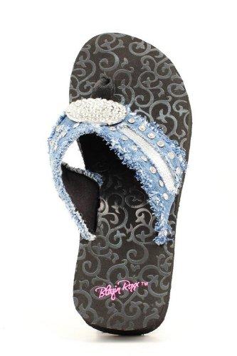 Blazin Roxx Western Shoes Womens Morgan Flip Flops 10 Black 4112401 front-1015856
