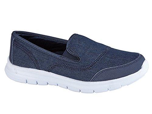 Donne Flexi Surf Comfort Scarpe Piatte Casual Marche Scarpe Sneaker Sport Vacanze GB scarpe taglia 4-8, nero (Jean), 37 EU