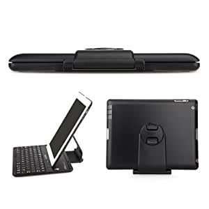 EC TECHNOLOGY® Black Color 360 Degrees Rotating ClamShell Bluetooth 3.0 Keyboard Thermoplastic Case for the iPad (4th Gen) with Retina display, NEW iPad (3rd Gen), iPad 2, Bluetooth keyboard compatible with the iPad (4th Gen) with Retina display, NEW iPad (3rd Gen), iPad 2: 3G, WIFI Model, 16GB, 32GB, 64GB, with multi adjustable angles and removable stand (NEWEST VERSION, fits iPad 4th and 3rd gen)- Retail Packaging