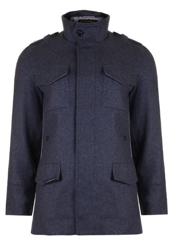 Mens 'CrossHatch' Wool Mix Military Style Smart Coat. Style Name - Donovan. In Mid Grey Size - Large