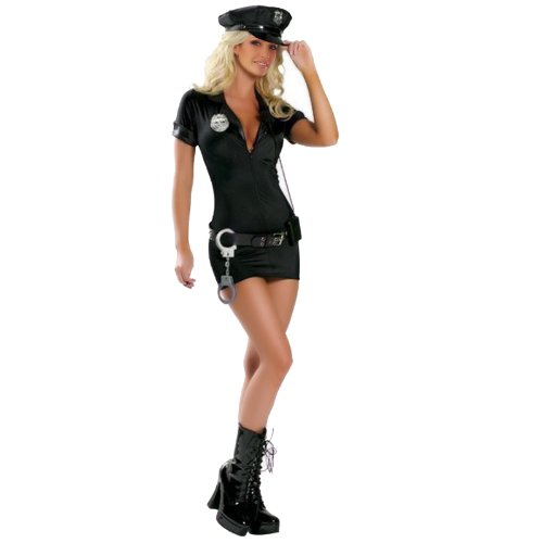 Sexy Cop Police Costume Uniform outfit fancy dress, w/ handcuffs, belt, hat