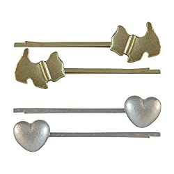 Sarah Pair of Two, Anime & Heart Metal Hair Clip for Girls - Silver & Gold