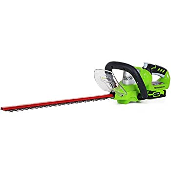GreenWorks 22232 G-24 Li-Ion 22-Inch Cordless Hedge Trimmer with 2AH Battery and Charger