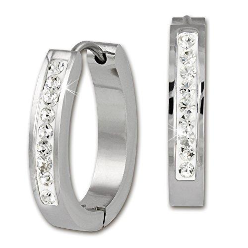 Amello in acciaio inox Orecchini a cerchio ovale con zirconi bianchi per donna esos13W