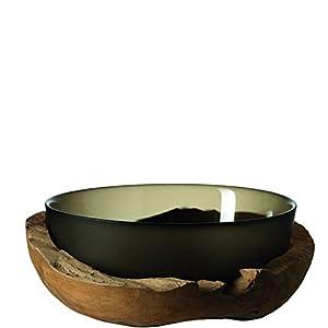 leonardo terra schale mit teaksockel glasschale. Black Bedroom Furniture Sets. Home Design Ideas