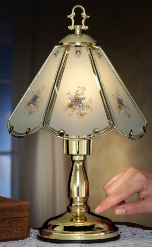 Blue Floral Glass Shade Touch Lamp
