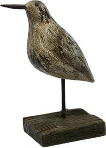 Wood Sandpiper Bird Shore Animal Figure Stand Table Topper Nautical Tropical Home Decor Art Bed Bath Garden Pool Deck Lake