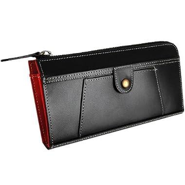 本水牛革 使用 クラシカル 長財布 ブラック×レッド 大容量 アコーディオン タイプ 黒×赤