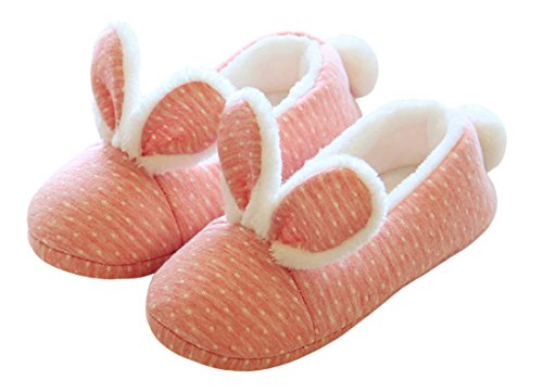 ChicNChic Women's Fuzzy Pink Bunny Rabbit Ear Winter Slippers Comfy Home Slippers Pink 8-8.5