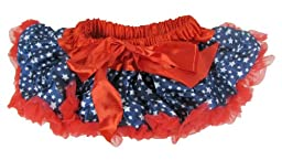 Girl\'s Satin and Chiffon Patriotic Pettiskirt Tutu Infant 12-24 Months Navy, White Stars Red Trim