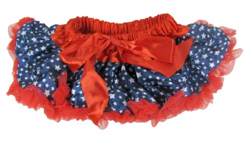 Girl'S Satin And Chiffon Patriotic Pettiskirt Tutu Infant 12-24 Months Navy, White Stars Red Trim front-998018