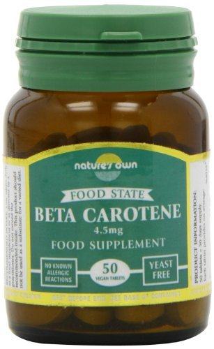 Natures Own Food State Beta Carotene , 50 Vegan Tablets