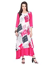 Riti Riwaz Rayon Pink Printed Round 3/4 Sleeve Long Dress MNMAW16101118-L_