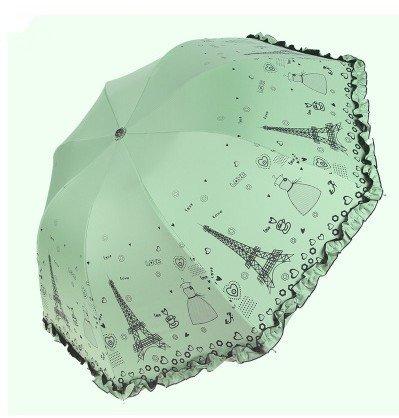 With Lace Ultra-Light Umbrella, Triple Folding Umbrella Pencil, Lovely Ultraviolet-Proof Umbrella