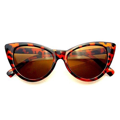 Punta Womens Moda Punta Calda Vintage Occhiali da Sole Occhi di Gatto (Brown, 0)