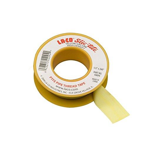 "LA-CO Slic-Tite PTFE Gas Line Pipe Thread Tape, Premium Grade, -450 to 550 Degree F Temperature, 260"" Length, 1/2"" Width, 4 mil Thickness, Yellow"