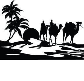 Beautiful sunset dessert with camel ride vinyl sticker for Pochoir mural xxl