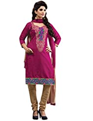 Vibes Fashionable Pure Cotton Unstiched Dress Materials,Free Size,Pink,V214-9