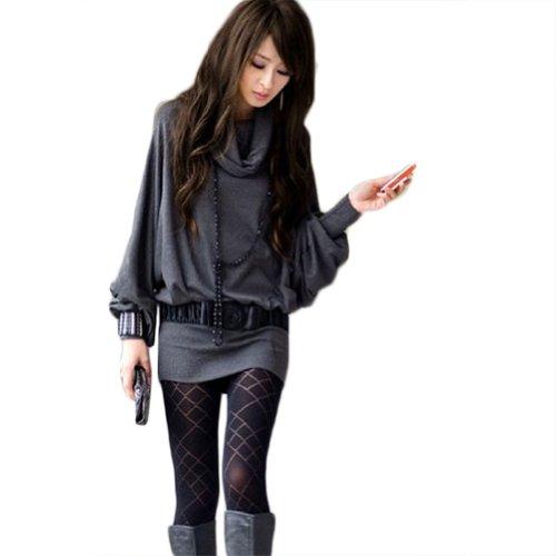Sexy New Womens Long Sleeve Casual T-Shirt Tops Mini Dress Blouse (Dark Gray)