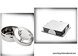 King International Stainless Steel Ash Tray With Lid And square Coaster Set Of 2 Piece.