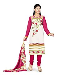 PShopee Pink & Off-White Printed Cotton Unstitched Salwar Suit Material