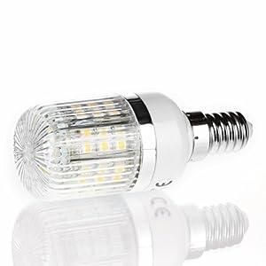 E14 48 SMD LED warmweiss - 48 x 3528 SMD LED - Lampe Leuchtmittel Mais plus Blende - 360º Abstrahlwinkel - E14 Sockel - 230V AC - 3W - Ø32×78mm