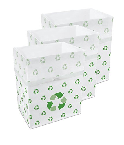 Clean Cubes 3-Pack Disposable Trash Cans and Recycling Bins, Recycle Pattern (Can Recycling compare prices)