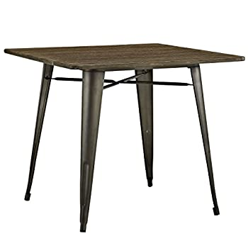 """LexMod Alacrity Square Wood Dining Table, Brown, 36"""""""