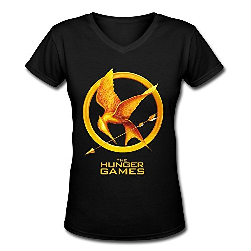 DeMai Women V-Neck Short Sleeve The Hunger Games Tee Shirts L Black (Hunger Games Game Xbox 360 compare prices)