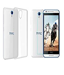 INFINITO (TM) Crystal Clear Case Soft Flexible Transparent Back Cover & Tempered Glass Combo For HTC Desire 828
