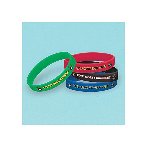 Amscan Power Rangers Dino Charge Rubber Bracelet (4 Piece), Red/Black/Blue/Green