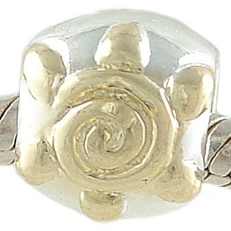 Sun 925 Sterling Silver and 14K Gold Plated Spacer Bead fits European Charm Bracelet
