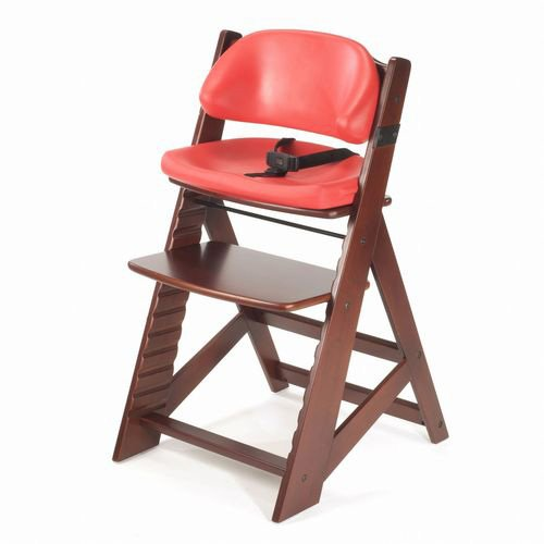 Keekaroo Height Right Kids Chair Mahogany with Comfort Cushions, Raspberry - 1