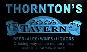 px1354-b THORNTON's Tavern Beer Mug Bar Pub Wine Neon Light Sign