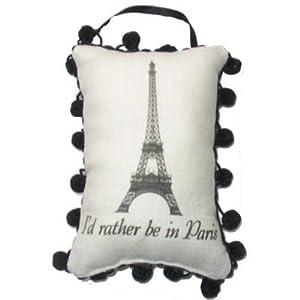"""Door Hanger - (Linen Pillow Style) - """"I'd Rather Be in Paris"""""""